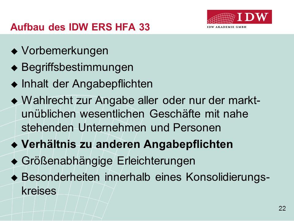 22 Aufbau des IDW ERS HFA 33  Vorbemerkungen  Begriffsbestimmungen  Inhalt der Angabepflichten  Wahlrecht zur Angabe aller oder nur der markt- unü