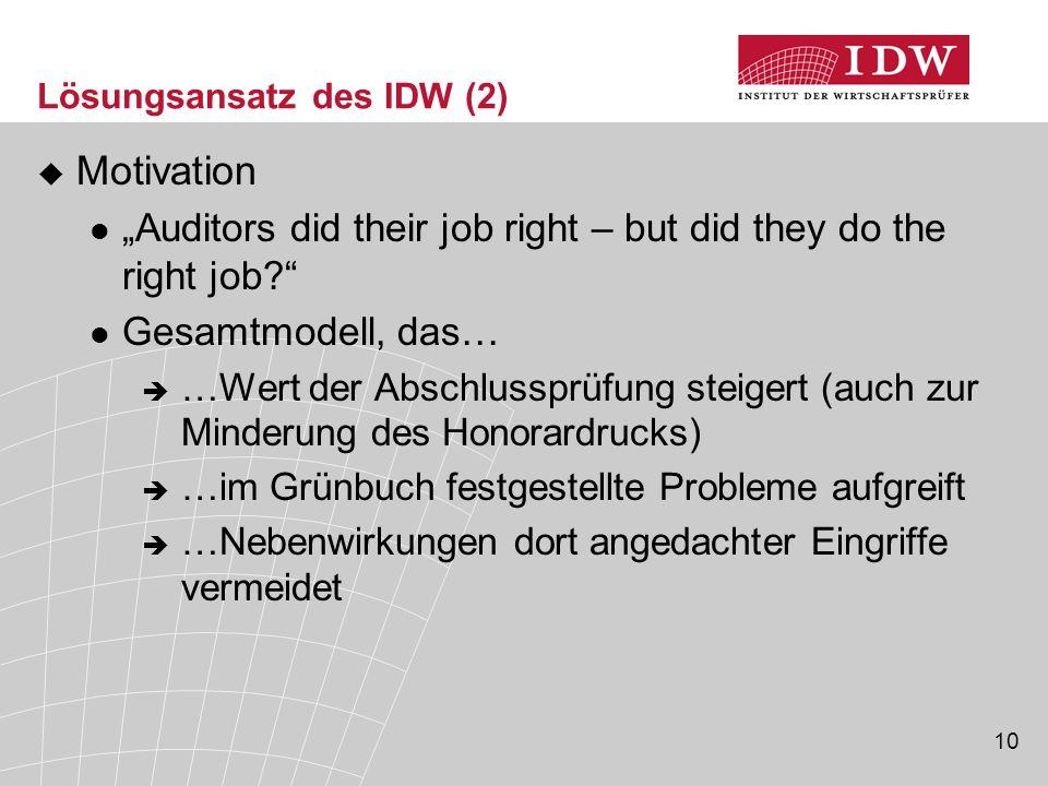 """10 Lösungsansatz des IDW (2)  Motivation """"Auditors did their job right – but did they do the right job?"""" Gesamtmodell, das…  …Wert der Abschlussprüf"""