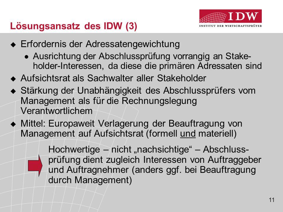 11 Lösungsansatz des IDW (3)  Erfordernis der Adressatengewichtung Ausrichtung der Abschlussprüfung vorrangig an Stake- holder-Interessen, da diese d