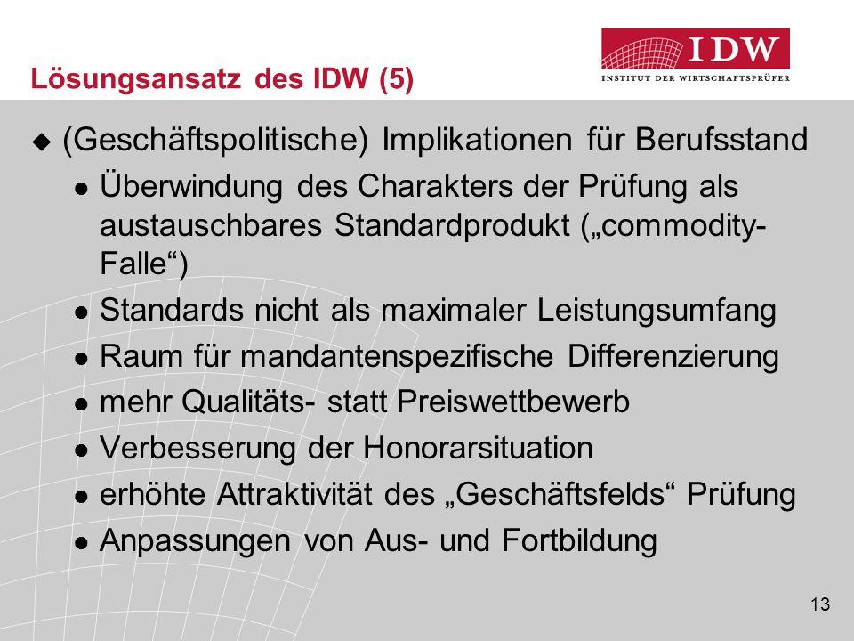 13 Lösungsansatz des IDW (5)  (Geschäftspolitische) Implikationen für Berufsstand Überwindung des Charakters der Prüfung als austauschbares Standardp