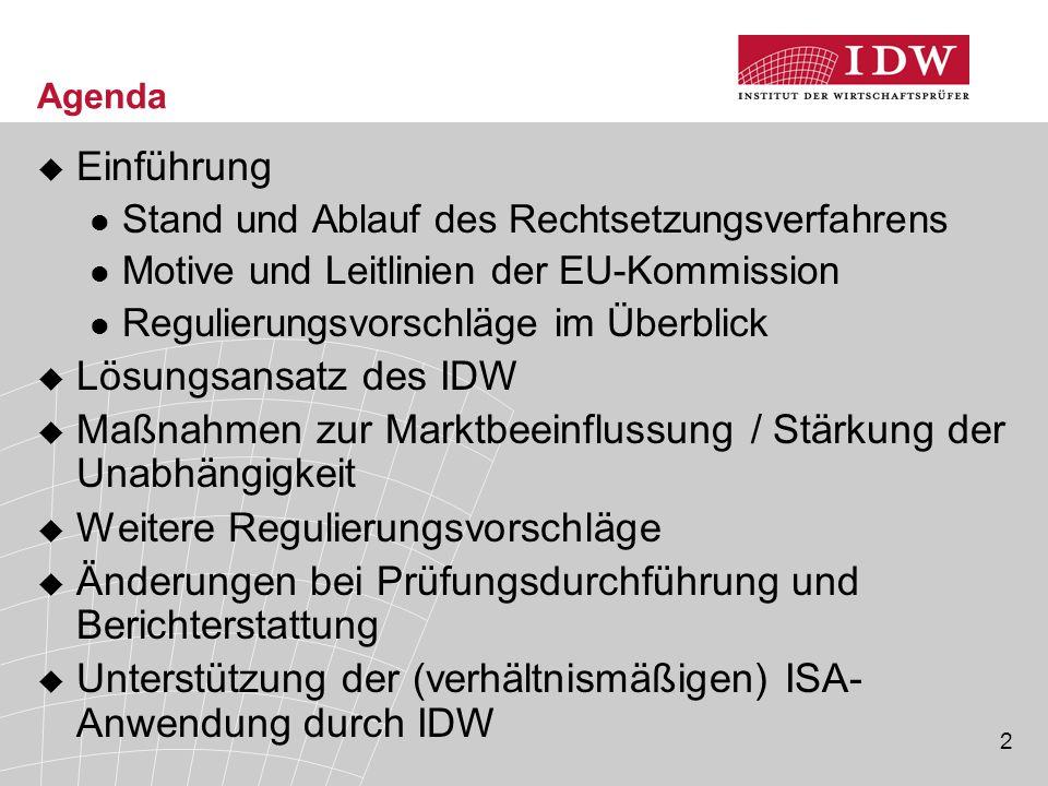 2 Agenda  Einführung Stand und Ablauf des Rechtsetzungsverfahrens Motive und Leitlinien der EU-Kommission Regulierungsvorschläge im Überblick  Lösun