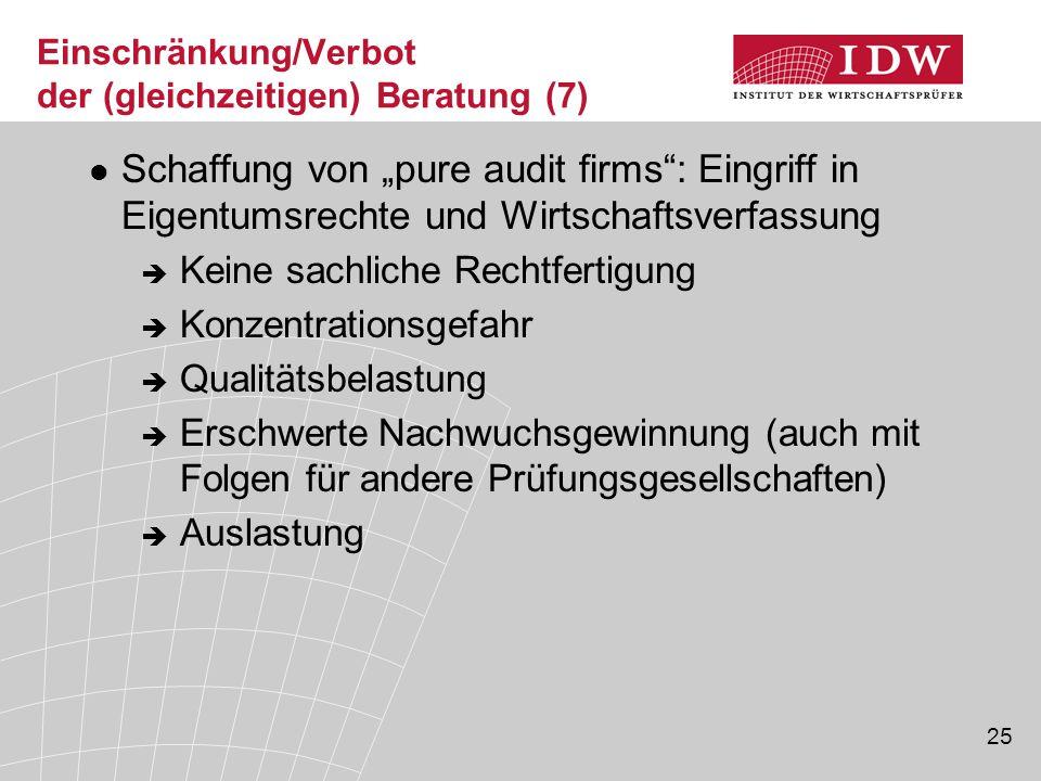 """25 Einschränkung/Verbot der (gleichzeitigen) Beratung (7) Schaffung von """"pure audit firms"""": Eingriff in Eigentumsrechte und Wirtschaftsverfassung  Ke"""