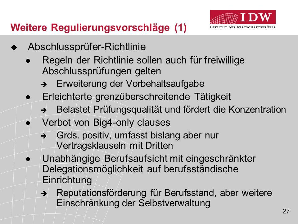 27 Weitere Regulierungsvorschläge (1)  Abschlussprüfer-Richtlinie Regeln der Richtlinie sollen auch für freiwillige Abschlussprüfungen gelten  Erwei
