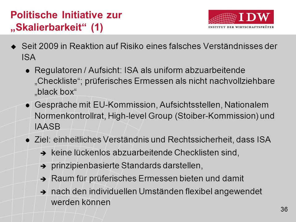 """36 Politische Initiative zur """"Skalierbarkeit"""" (1)  Seit 2009 in Reaktion auf Risiko eines falsches Verständnisses der ISA Regulatoren / Aufsicht: ISA"""