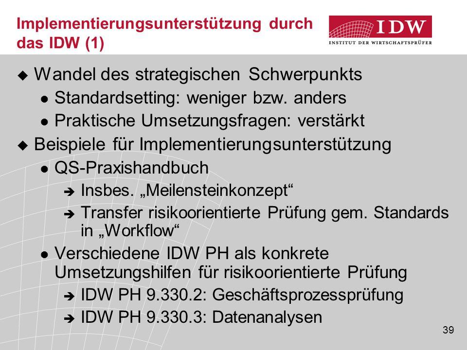 39 Implementierungsunterstützung durch das IDW (1)  Wandel des strategischen Schwerpunkts Standardsetting: weniger bzw. anders Praktische Umsetzungsf