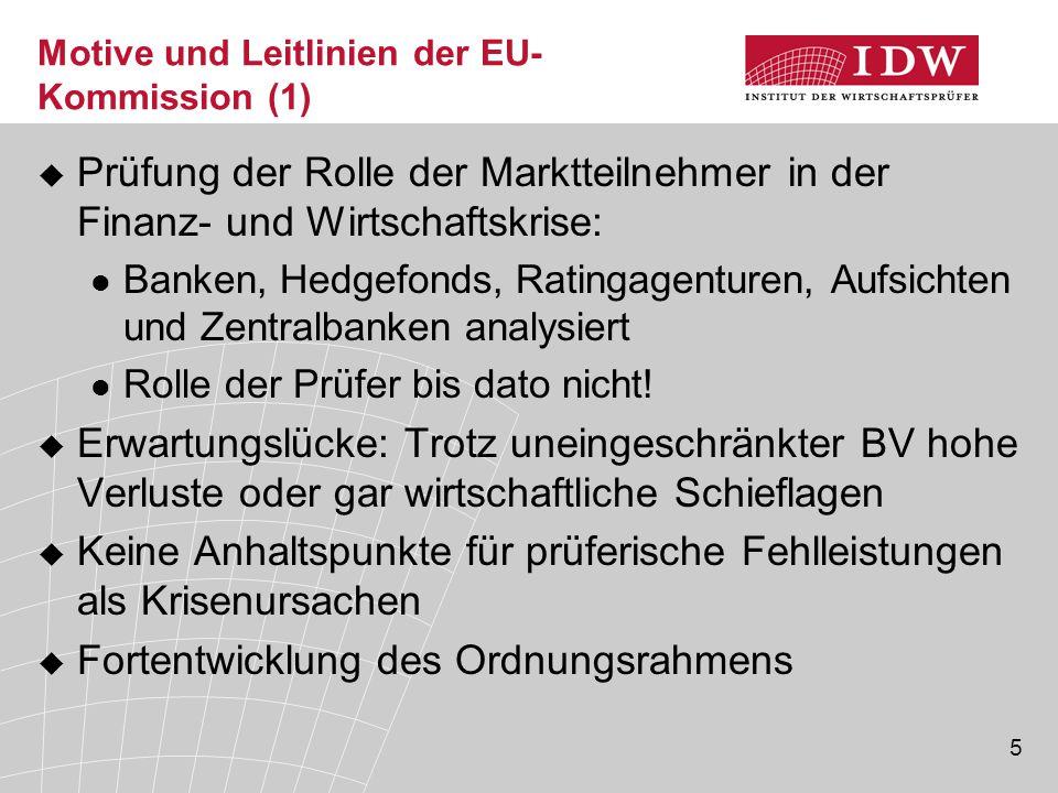 5 Motive und Leitlinien der EU- Kommission (1)  Prüfung der Rolle der Marktteilnehmer in der Finanz- und Wirtschaftskrise: Banken, Hedgefonds, Rating
