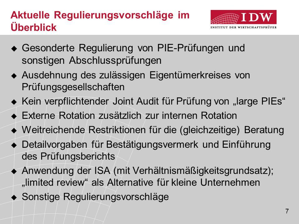 7 Aktuelle Regulierungsvorschläge im Überblick  Gesonderte Regulierung von PIE-Prüfungen und sonstigen Abschlussprüfungen  Ausdehnung des zulässigen