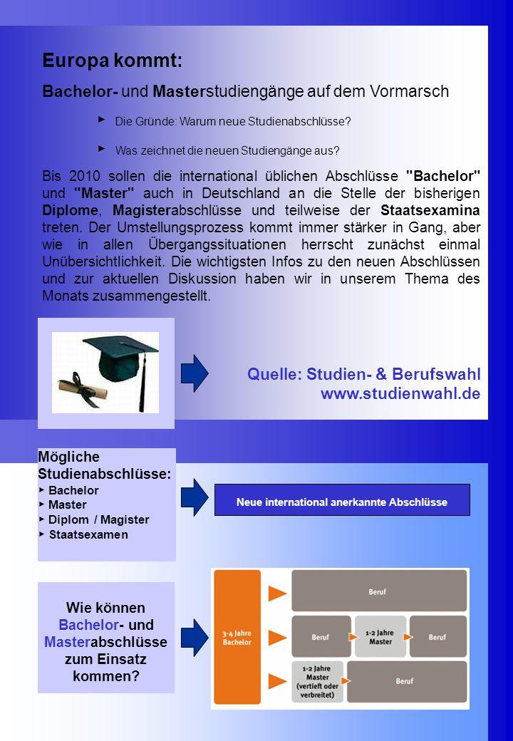 Europa kommt: Bachelor- und Masterstudiengänge auf dem Vormarsch ▶ Die Gründe: Warum neue Studienabschlüsse.