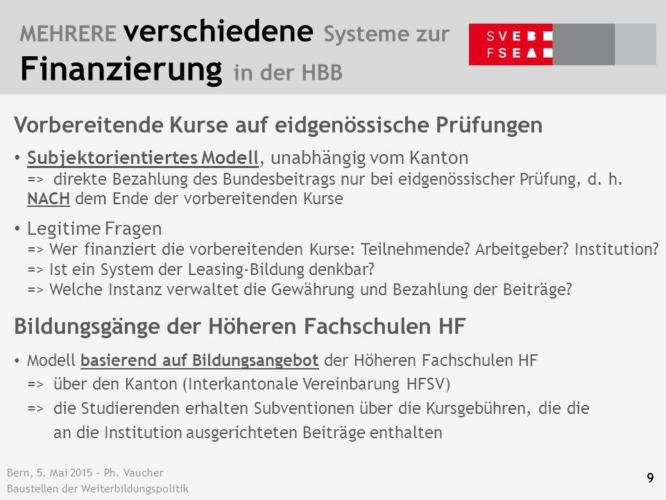 Bern, 5. Mai 2015 – Ph. Vaucher Baustellen der Weiterbildungspolitik MEHRERE verschiedene Systeme zur Finanzierung in der HBB 9 Vorbereitende Kurse au