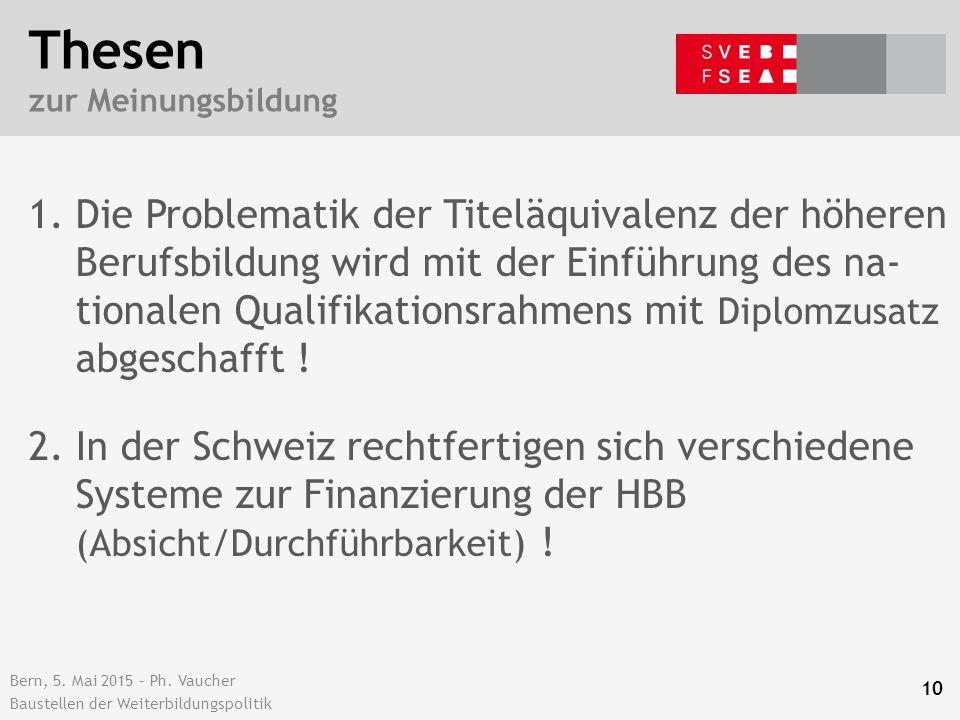 Bern, 5. Mai 2015 – Ph. Vaucher Baustellen der Weiterbildungspolitik Thesen zur Meinungsbildung 1.Die Problematik der Titeläquivalenz der höheren Beru