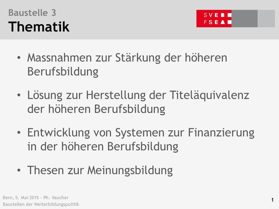 Bern, 5. Mai 2015 – Ph. Vaucher Baustellen der Weiterbildungspolitik Baustelle 3 Thematik Massnahmen zur Stärkung der höheren Berufsbildung Lösung zur