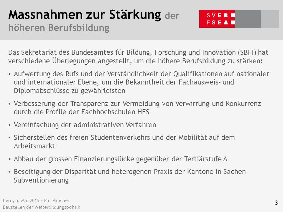 Bern, 5. Mai 2015 – Ph. Vaucher Baustellen der Weiterbildungspolitik Massnahmen zur Stärkung der höheren Berufsbildung Das Sekretariat des Bundesamtes