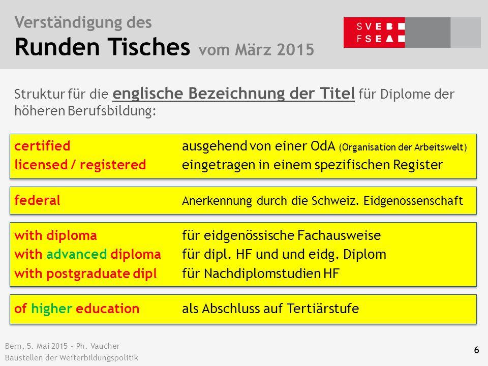 Bern, 5. Mai 2015 – Ph. Vaucher Baustellen der Weiterbildungspolitik Verständigung des Runden Tisches vom März 2015 6 certified ausgehend von einer Od