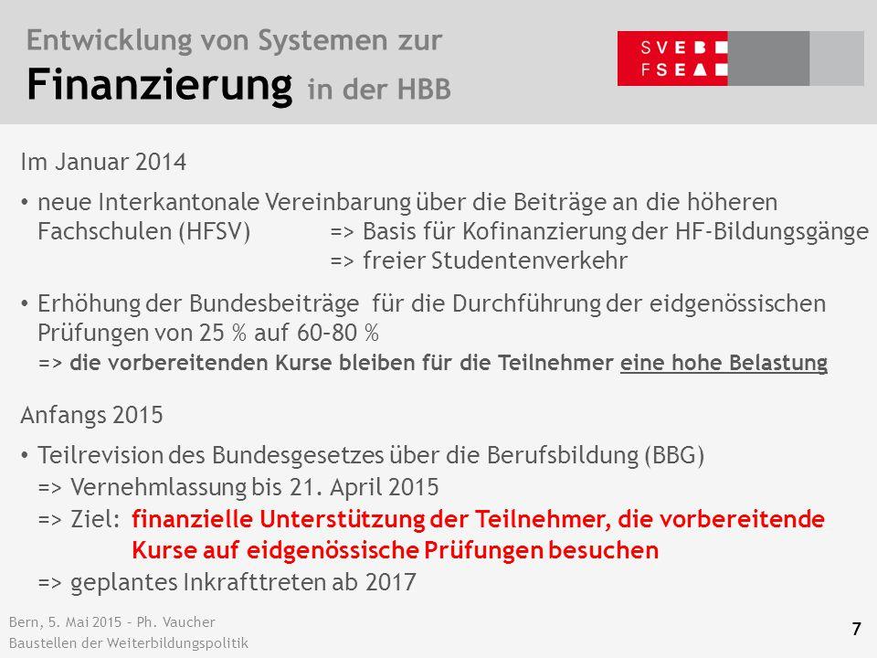 Bern, 5. Mai 2015 – Ph. Vaucher Baustellen der Weiterbildungspolitik Entwicklung von Systemen zur Finanzierung in der HBB 7 Im Januar 2014 neue Interk