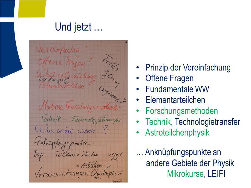 Und jetzt … Prinzip der Vereinfachung Offene Fragen Fundamentale WW Elementarteilchen Forschungsmethoden Technik, Technologietransfer Astroteilchenphysik … Anknüpfungspunkte an andere Gebiete der Physik Mikrokurse, LEIFI