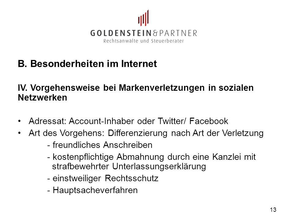 B. Besonderheiten im Internet IV. Vorgehensweise bei Markenverletzungen in sozialen Netzwerken Adressat: Account-Inhaber oder Twitter/ Facebook Art de