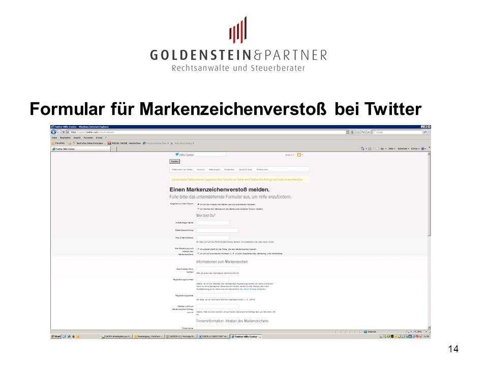 Formular für Markenzeichenverstoß bei Twitter 14