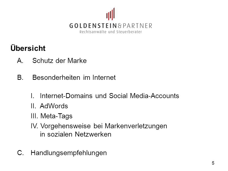 5 A.Schutz der Marke B.Besonderheiten im Internet I. Internet-Domains und Social Media-Accounts II. AdWords III. Meta-Tags IV. Vorgehensweise bei Mark