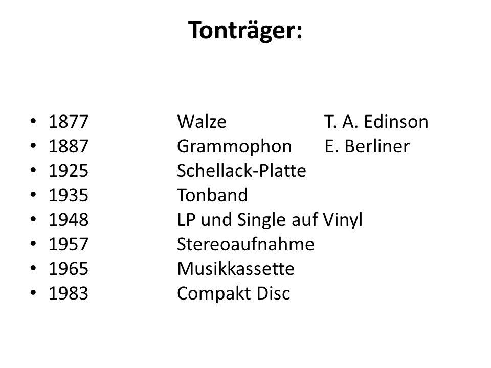 Tonträger: 1877WalzeT. A. Edinson 1887GrammophonE.