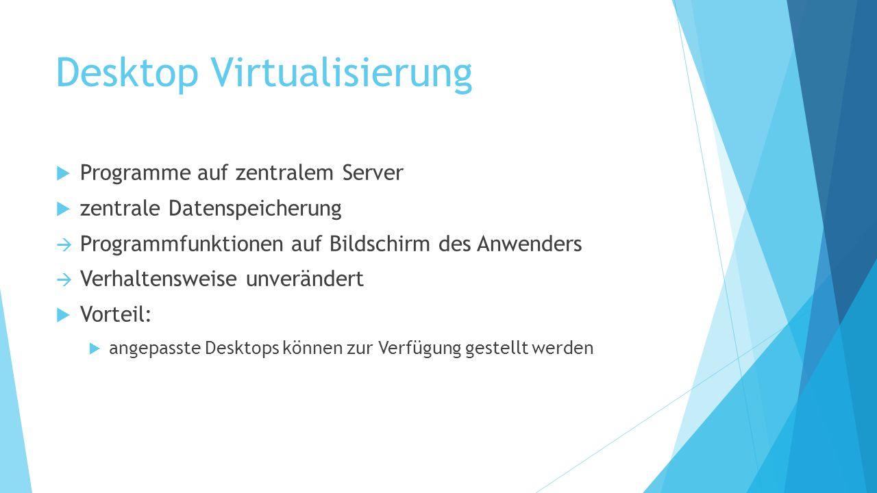 Desktop Virtualisierung  Programme auf zentralem Server  zentrale Datenspeicherung  Programmfunktionen auf Bildschirm des Anwenders  Verhaltenswei