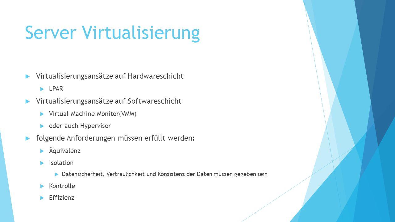 Server Virtualisierung  Virtualisierungsansätze auf Hardwareschicht  LPAR  Virtualisierungsansätze auf Softwareschicht  Virtual Machine Monitor(VM