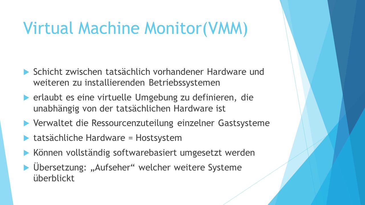 Virtual Machine Monitor(VMM)  Schicht zwischen tatsächlich vorhandener Hardware und weiteren zu installierenden Betriebssystemen  erlaubt es eine vi