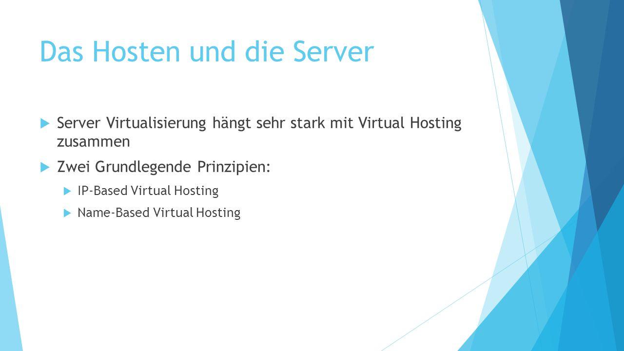 Das Hosten und die Server  Server Virtualisierung hängt sehr stark mit Virtual Hosting zusammen  Zwei Grundlegende Prinzipien:  IP-Based Virtual Ho