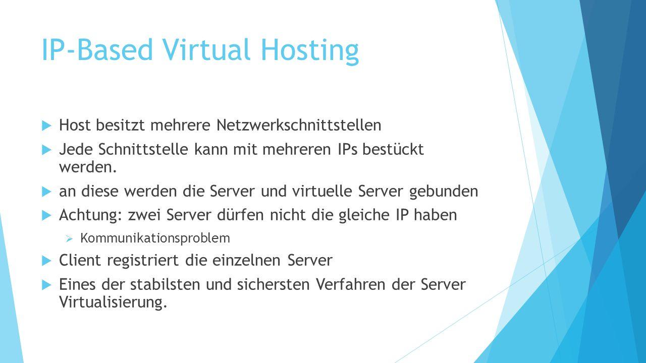 IP-Based Virtual Hosting  Host besitzt mehrere Netzwerkschnittstellen  Jede Schnittstelle kann mit mehreren IPs bestückt werden.  an diese werden d