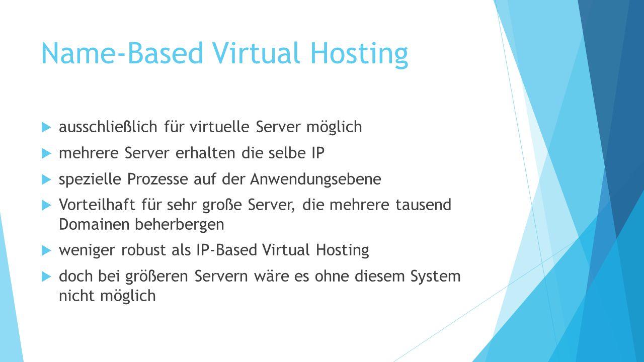 Name-Based Virtual Hosting  ausschließlich für virtuelle Server möglich  mehrere Server erhalten die selbe IP  spezielle Prozesse auf der Anwendung