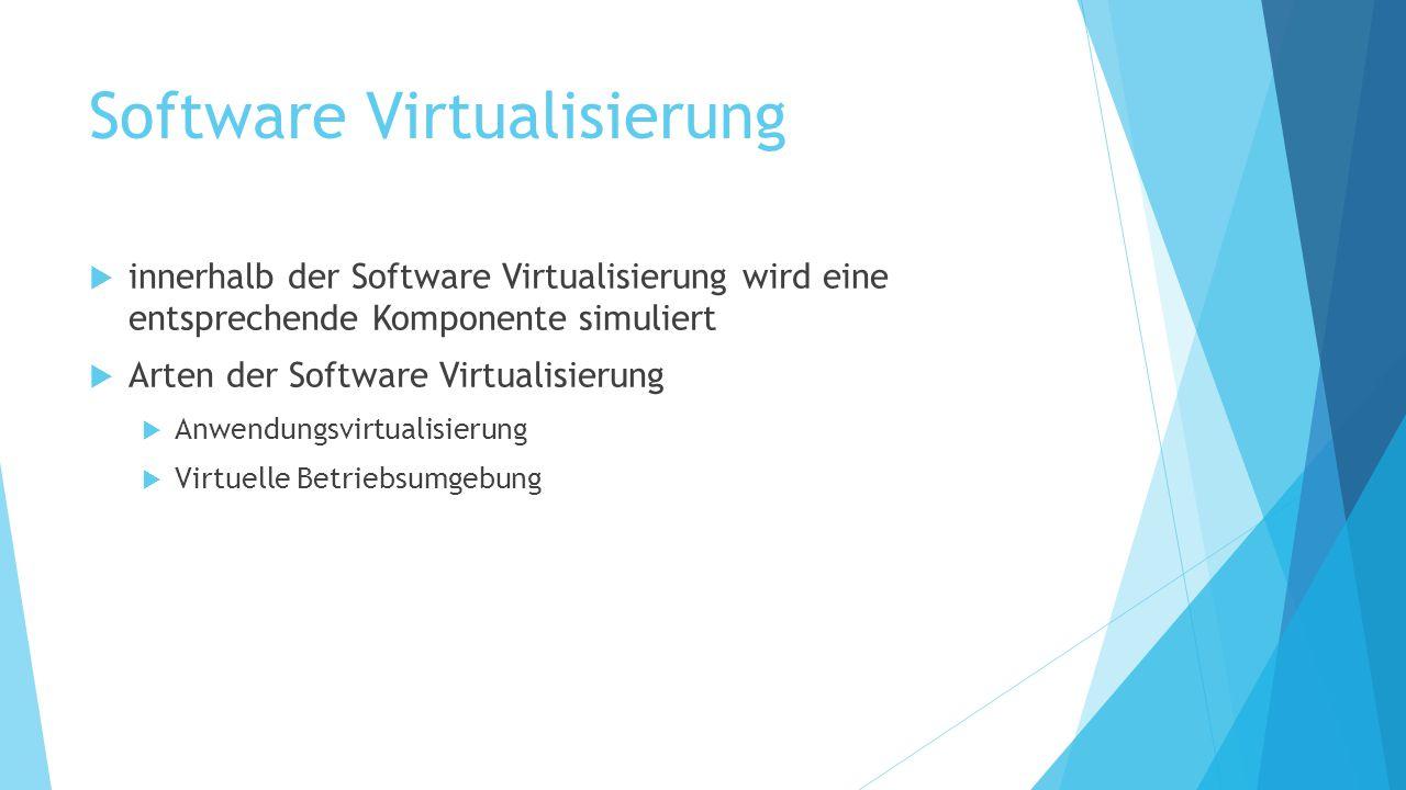 Software Virtualisierung  innerhalb der Software Virtualisierung wird eine entsprechende Komponente simuliert  Arten der Software Virtualisierung 