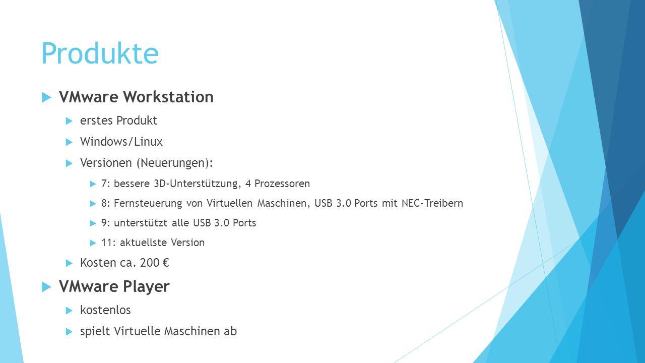 Produkte  VMware Workstation  erstes Produkt  Windows/Linux  Versionen (Neuerungen):  7: bessere 3D-Unterstützung, 4 Prozessoren  8: Fernsteueru