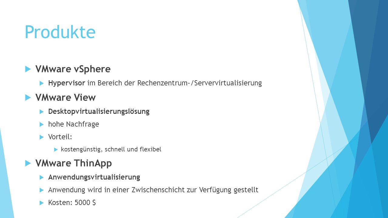 Produkte  VMware vSphere  Hypervisor im Bereich der Rechenzentrum-/Servervirtualisierung  VMware View  Desktopvirtualisierungslösung  hohe Nachfr