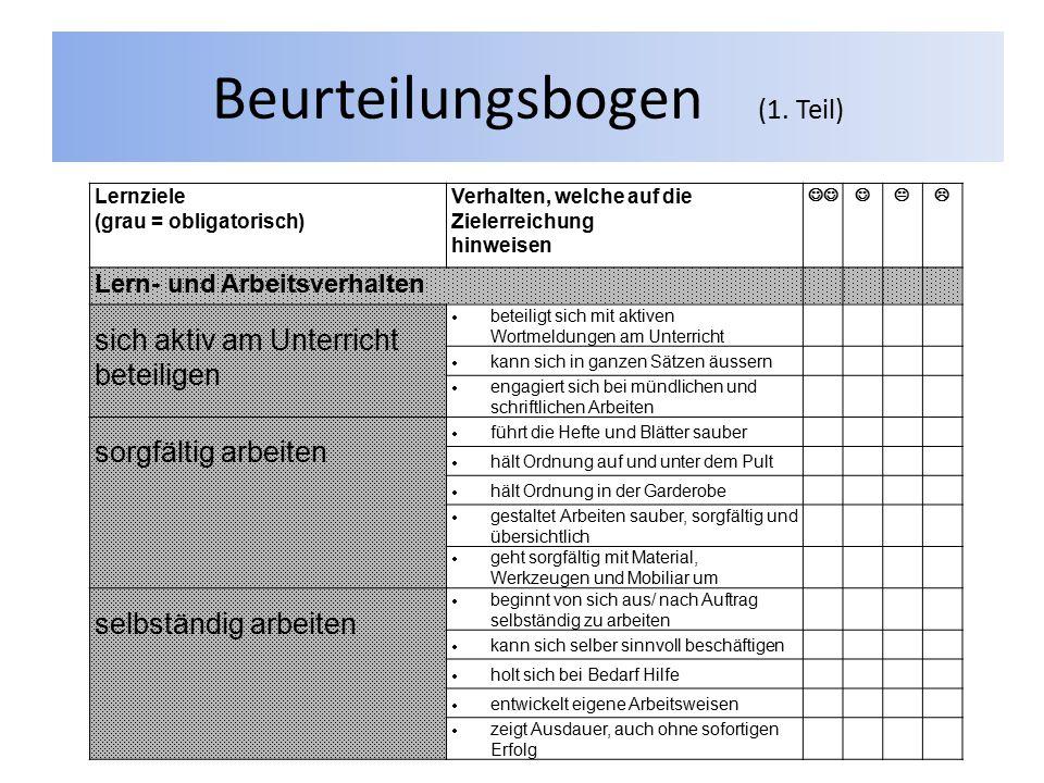 Beurteilungsbogen (1. Teil) Lernziele (grau = obligatorisch) Verhalten, welche auf die Zielerreichung hinweisen  Lern- und Arbeitsverhalten sich akt