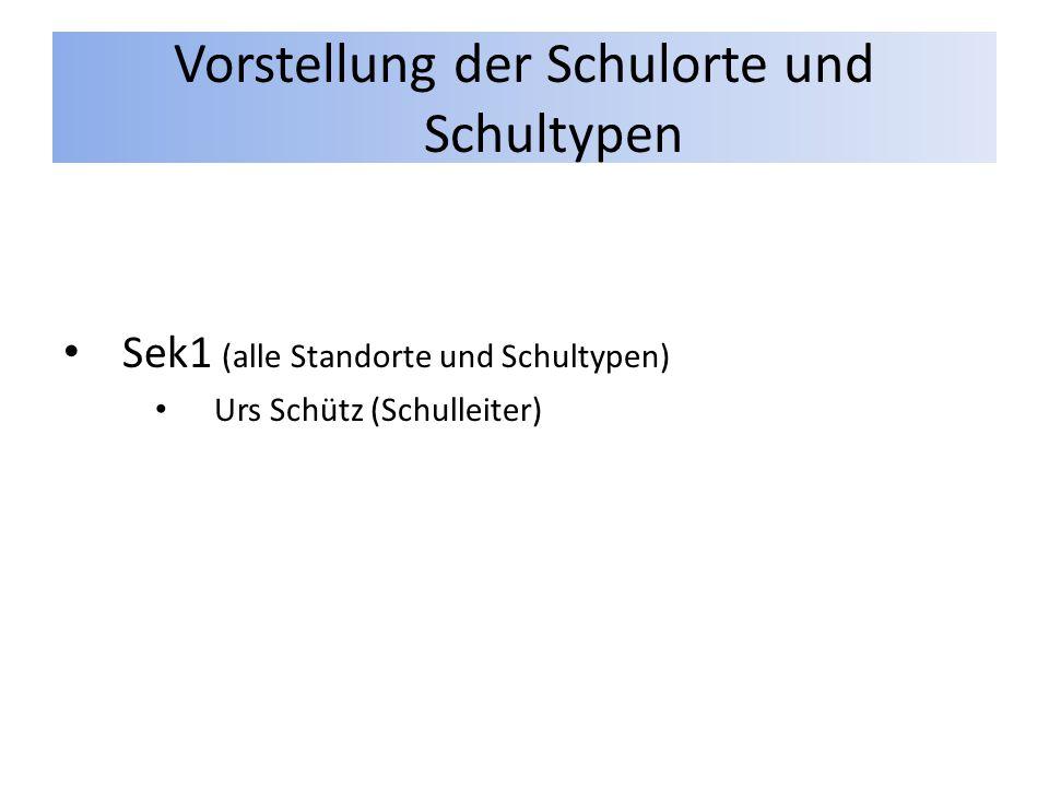 Vorstellung der Schulorte und Schultypen Sek1 (alle Standorte und Schultypen) Urs Schütz (Schulleiter)