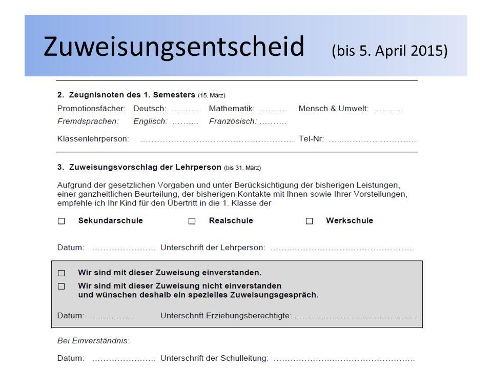 Zuweisungsentscheid (bis 5. April 2015)