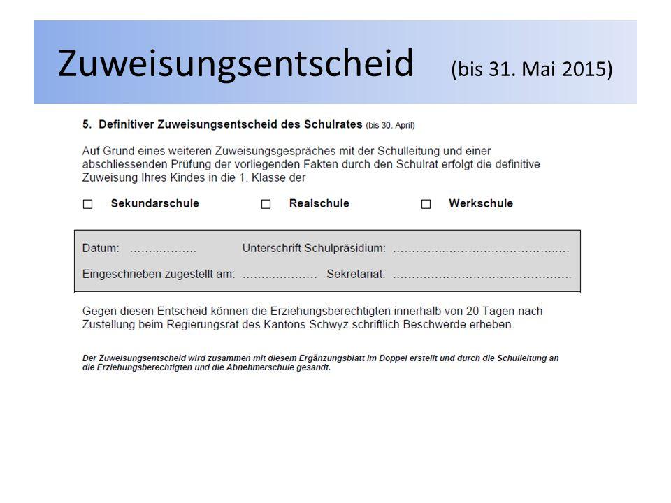 Zuweisungsentscheid (bis 31. Mai 2015)