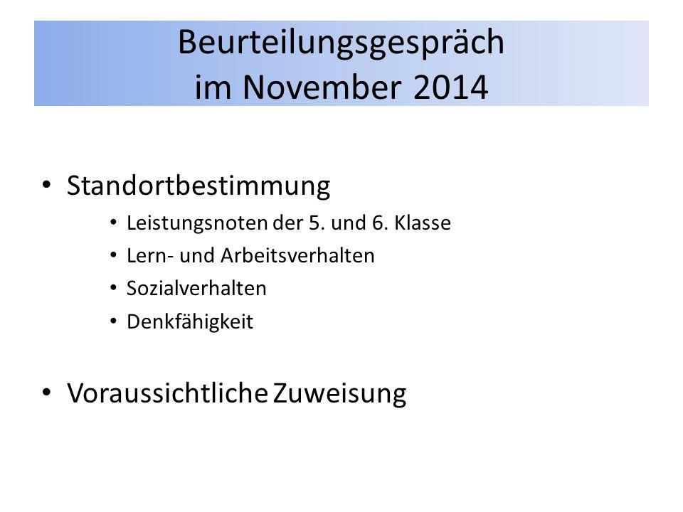 Beurteilungsgespräch im November 2014 Standortbestimmung Leistungsnoten der 5. und 6. Klasse Lern- und Arbeitsverhalten Sozialverhalten Denkfähigkeit