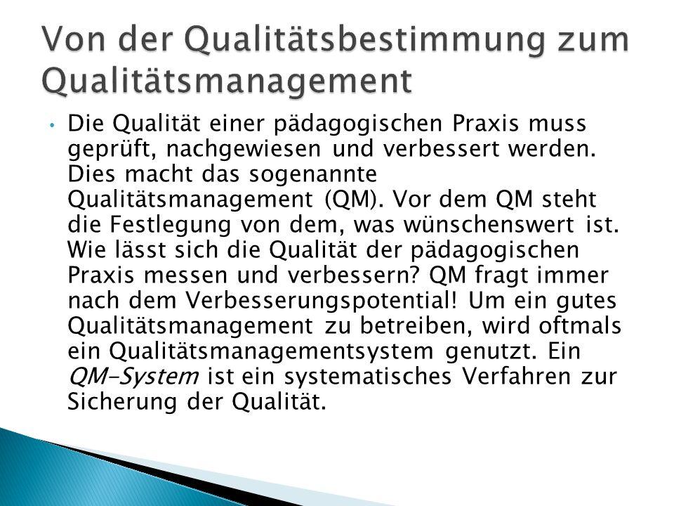 Die Qualität einer pädagogischen Praxis muss geprüft, nachgewiesen und verbessert werden. Dies macht das sogenannte Qualitätsmanagement (QM). Vor dem