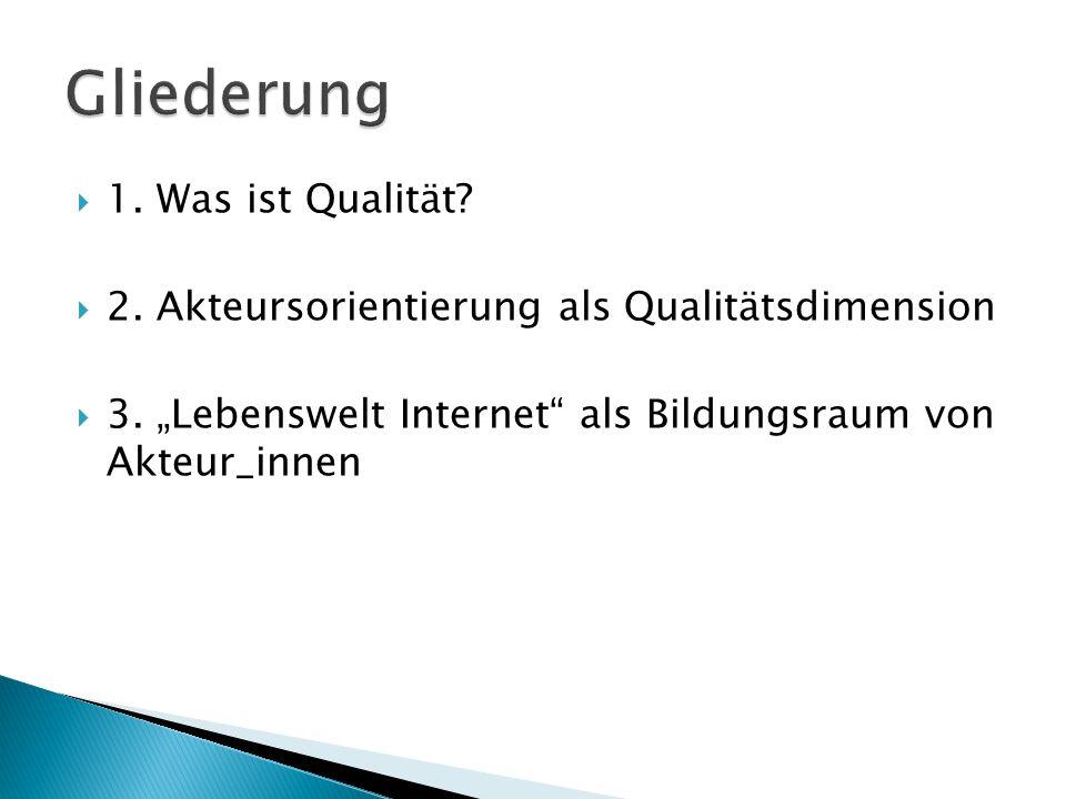 """ 1. Was ist Qualität?  2. Akteursorientierung als Qualitätsdimension  3. """"Lebenswelt Internet"""" als Bildungsraum von Akteur_innen"""