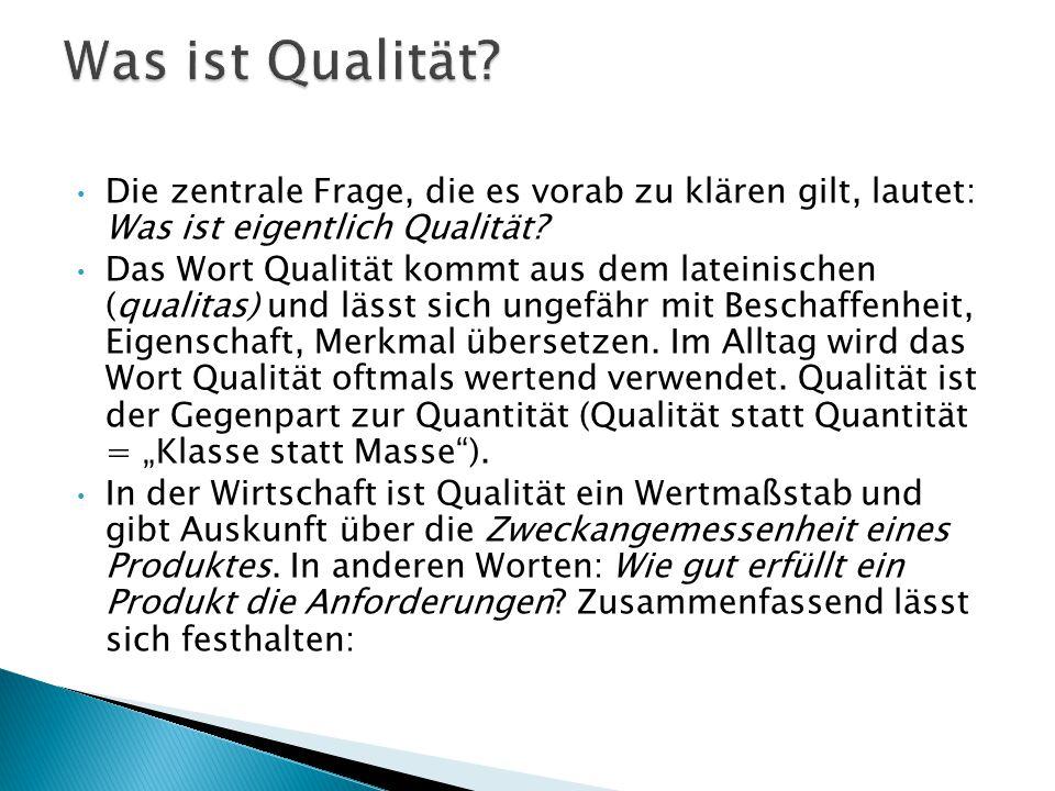 Die zentrale Frage, die es vorab zu klären gilt, lautet: Was ist eigentlich Qualität? Das Wort Qualität kommt aus dem lateinischen (qualitas) und läss