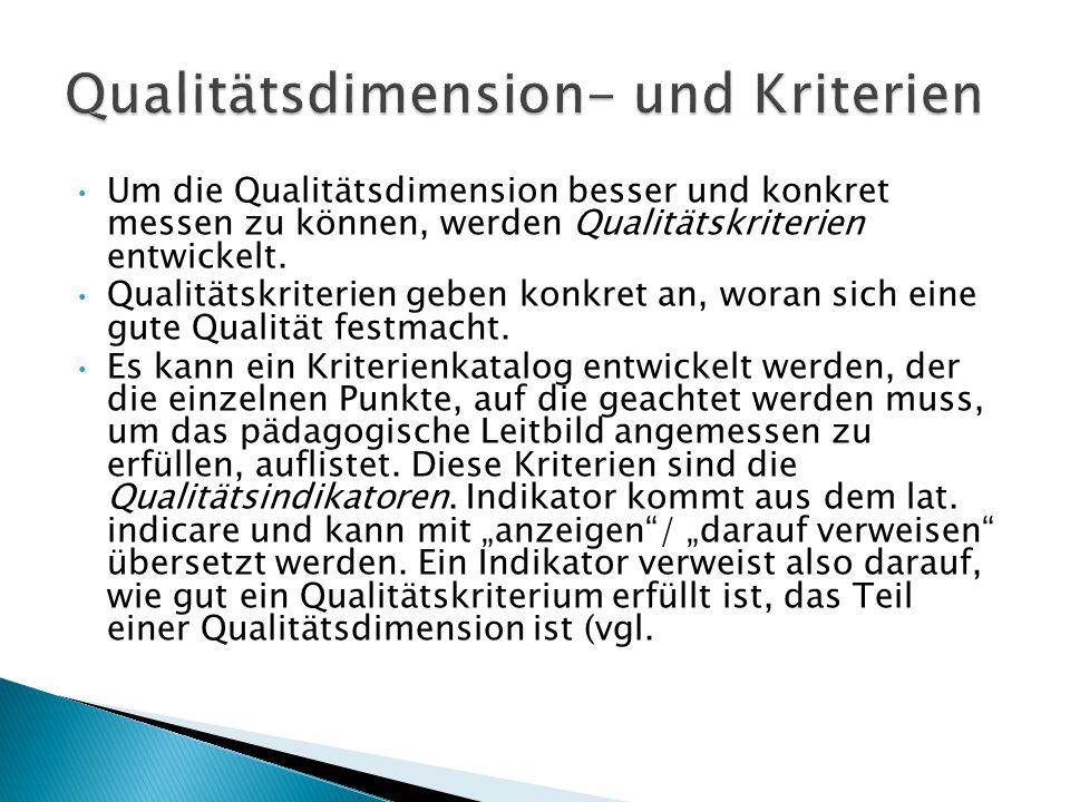 Um die Qualitätsdimension besser und konkret messen zu können, werden Qualitätskriterien entwickelt. Qualitätskriterien geben konkret an, woran sich e