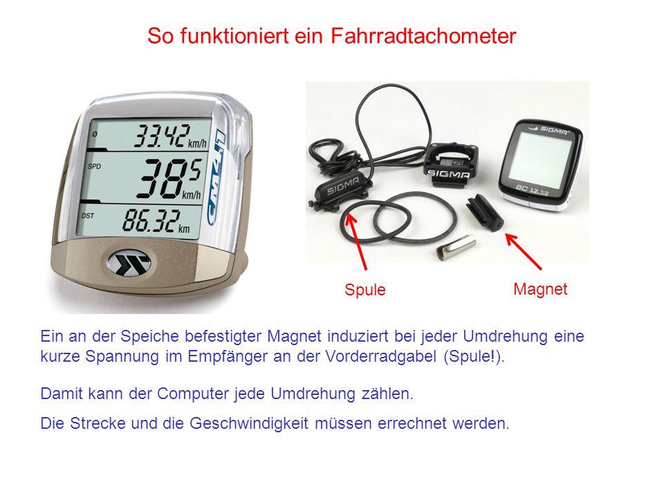 So funktioniert ein Fahrradtachometer Ein an der Speiche befestigter Magnet induziert bei jeder Umdrehung eine kurze Spannung im Empfänger an der Vord