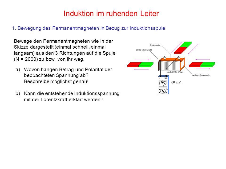 1. Bewegung des Permanentmagneten in Bezug zur Induktionsspule Induktion im ruhenden Leiter Bewege den Permanentmagneten wie in der Skizze dargestellt