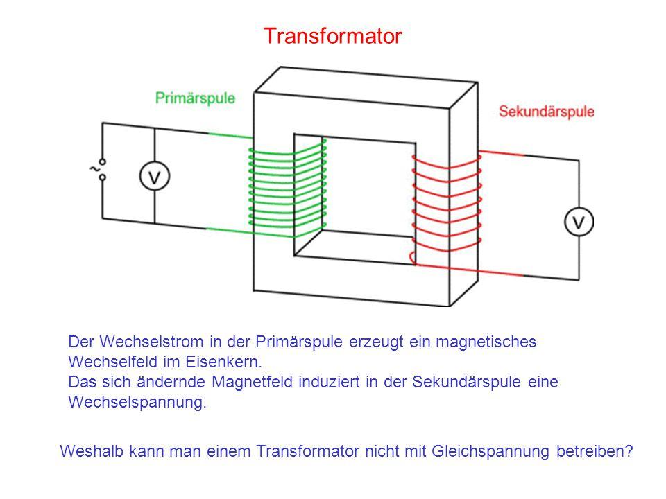 Transformator Weshalb kann man einem Transformator nicht mit Gleichspannung betreiben? Der Wechselstrom in der Primärspule erzeugt ein magnetisches We