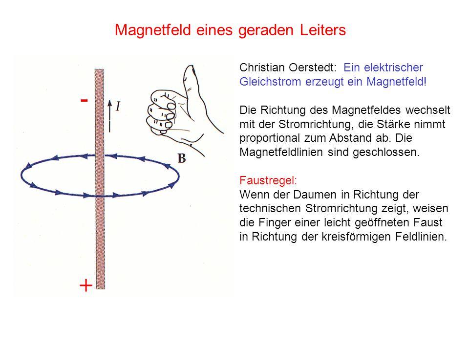 Magnetfeld eines geraden Leiters Christian Oerstedt: Ein elektrischer Gleichstrom erzeugt ein Magnetfeld! Die Richtung des Magnetfeldes wechselt mit d