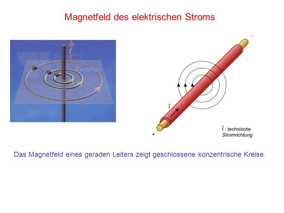 Magnetfeld des elektrischen Stroms Das Magnetfeld eines geraden Leiters zeigt geschlossene konzentrische Kreise.