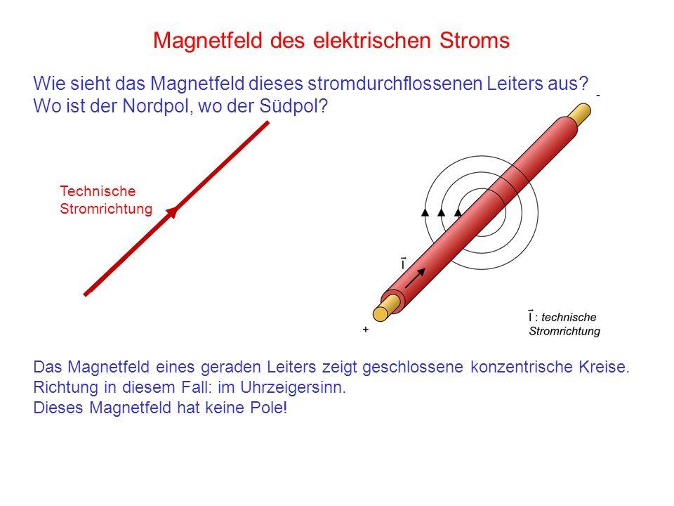 Magnetfeld des elektrischen Stroms Das Magnetfeld eines geraden Leiters zeigt geschlossene konzentrische Kreise. Richtung in diesem Fall: im Uhrzeiger