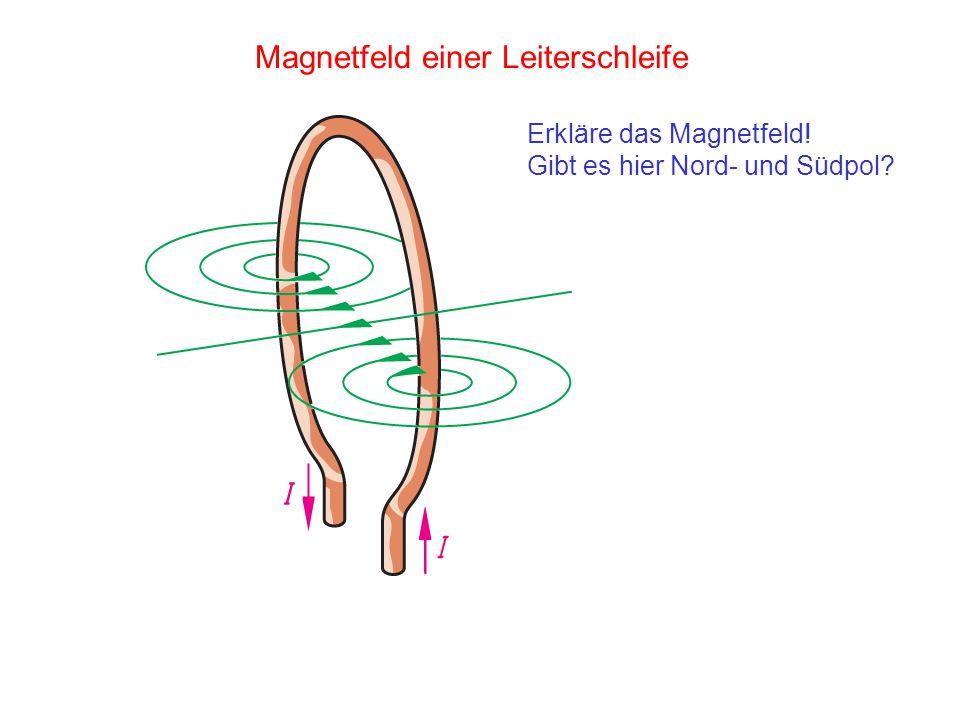 Magnetfeld einer Leiterschleife Erkläre das Magnetfeld! Gibt es hier Nord- und Südpol?