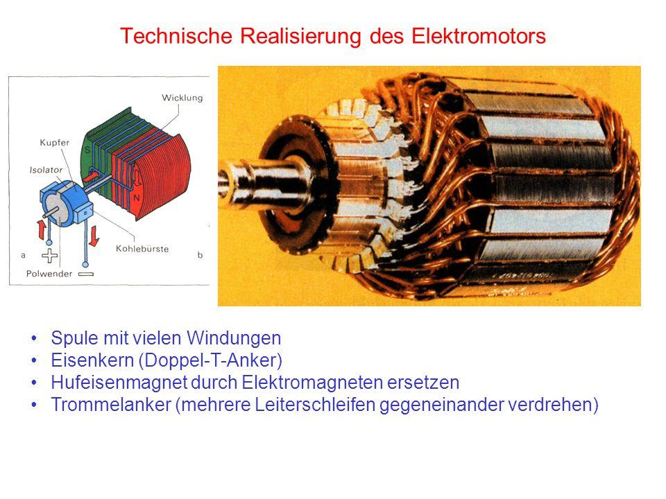 Technische Realisierung des Elektromotors Spule mit vielen Windungen Eisenkern (Doppel-T-Anker) Hufeisenmagnet durch Elektromagneten ersetzen Trommela