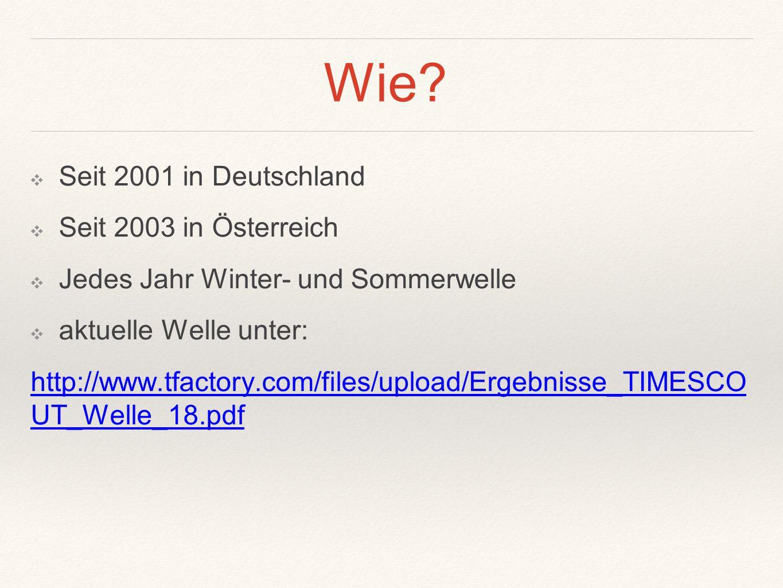 Wie? ❖ Seit 2001 in Deutschland ❖ Seit 2003 in Österreich ❖ Jedes Jahr Winter- und Sommerwelle ❖ aktuelle Welle unter: http://www.tfactory.com/files/u